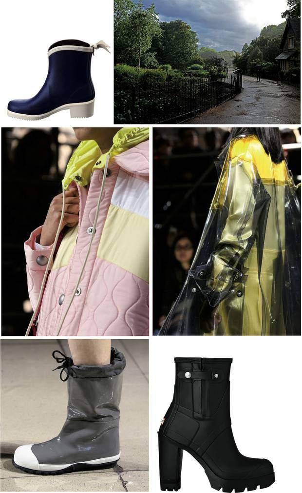 From top left to bottom right: Miss Juliette Bottollon rain boot by Aigle, sun & rain at Hyde Park, London, quilted anorak by Miu Miu, a transparent PVC raincoat by Miu Miu, flat rainboots by Miu Miu, original high heel by Hunter