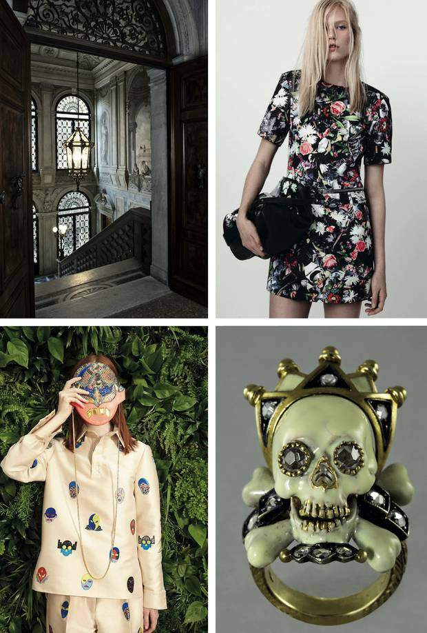 WHEN EVERYTHING FITS TOGETHER: The staircase of the Aman Canal Grande, Venice; the perfect dress to stroll around in Venice by Alexander McQueen, resort 2015 collection; It is all about masks at Stella McCartney resort 2015 collection; a ring by Venetian jeweller Attilio Codognato