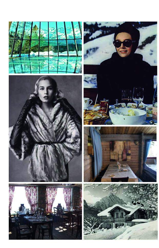 From top left to bottom right: The best pool for a morning swim at the Grand Hotel Kronenhof in Pontresina, Audrey Hepburn by Slim Aaron enjoying a perfect moment for lunch in the sun, my choice for the the Apres Ski moment, a vintage fur with silky hair and a perfect glow after a day on the slopes, the cosy Gaststube at Cloud 9 in Aspen, Le Soucoupe in Courchevel for lunch, the Sonnenhof near Saanen above Gstaad