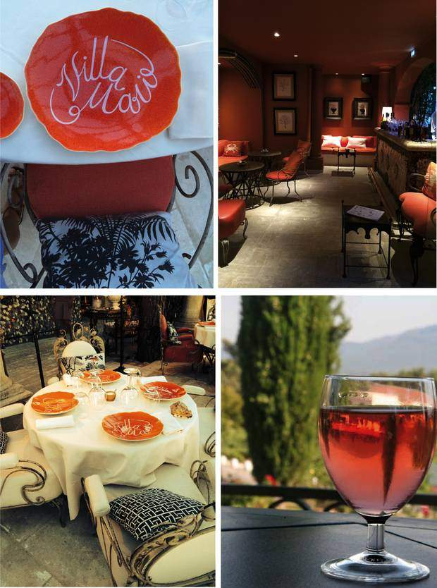 From top left to bottom right: Handmade plates for Villa Marie, the bar, next to the restaurant and a glass of chilled Château Minuty.