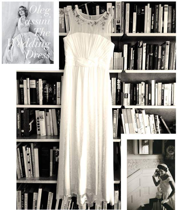 From top left to bottom right: A new book about the most beautiful white dresses by Oleg Cassini, Rizzoli, New York, the white dress by H&M in front of my bookshelf making me think about my future, one of the most stunning brides, Jacky Kennedy on her first wedding day