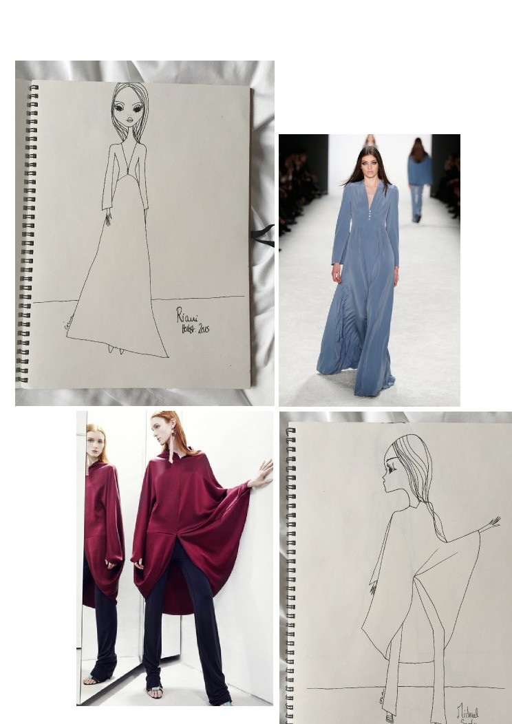 IRMA is inspired by Riani's blue silk dress for autumn /winter 2015 and she loves the  flow of Michael Sontag's red berry cape AW 2015