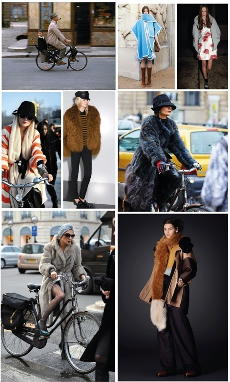 Biking makes you smile, sky blue cape by Chloe Pre-Fall 2014; heavy hoodies by MSGM against moist and cold weather are perfect; the Paris fashion shows are run by bike, at least for some fashionistas; another perfect outfit by Gucci Pre-Fall 2014; leather hats and soft furs worn with skinny jeans are most comfortable; use short, sporty rain jackets with long furs and make a fashionable statement which keeps you warm.
