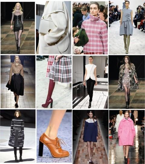 From top left to bottom right: Yves Saint Laurent, Giambattista Valli, Céline, Céline, Lanvin, Céline, Balenciaga, Yves Saint Laurent, Chanel, Chloe, Valentino, Carven