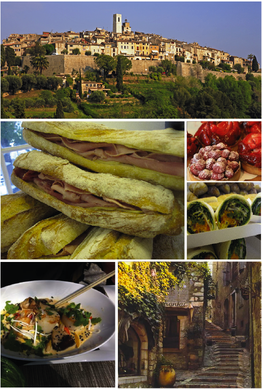 The village of Saint Paul de Vence, perfect quick lunch: baguette au jambon, Asian inspired wraps and tartes au fromboise ou fraise, Coquis Saint Jaques with sautéed vegetables and the idyllic village of Saint Paul is just beauty full in autumn.