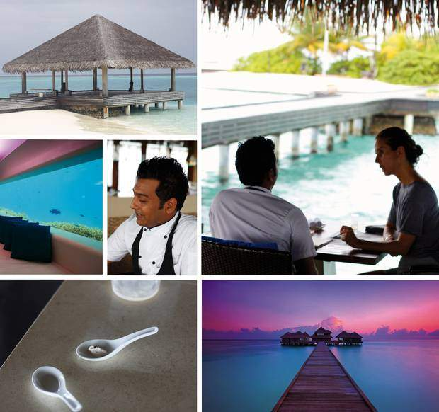 From top to bottom: The Yoga Pavillion at Huvafen Fushi, the underwater spa which is the only one in the world, Mr. Sean Derrick having a talk with JK from IRMASWORLD.COM, a little taste of raw walnut mousse, the way to the spa where you have underwater and over water treatment rooms.