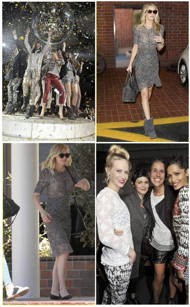 H&M party time in Paris, Rosie Huntington-Whiteley wearing an Isabel Marant dress for H&M, Kirsten Dunst wearing the same dress with flats…, January Jones, Audrey Tautou, Isabel Marant and Freida Pinto rock the house at the H&M party