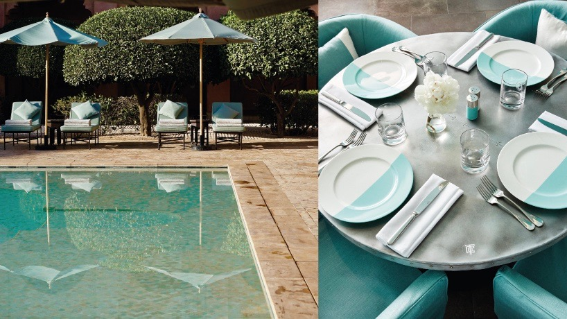 b26ac96d024 A table setting at Tiffany's Blue Box Café is like a dip into a turquoise  pool, like for example at the Amanjena in Marrakech, Morocco.