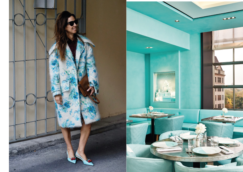 367f75fcdda Jasmin wears a coat by Prada, shoes by Gucci and Polo by Miu Miu, bag and  glasses Céline. Turquoise gets you in a happy mood.
