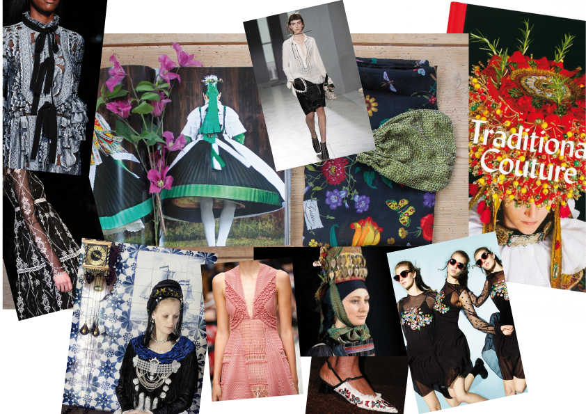 FROM TOP LEFT TO BOTTOM RIGHT: ERDE; #LFW SUMMER 2016, an inside spread of the book Traditional Couture, photographed by Gregor Hohenberg, gestalten, white blouse by Christopher Kane, Summer 2016, Gucci silk scarf and Prada beaded bag, both vintage by IRMA, the cover of the book Traditional Couture, inside page of Traditional Couture, Burberry Prorsum Summer 2016 collection, inside spread, a embroidered shoe by Erdem, more embroideries by Preen Line Summer 2016