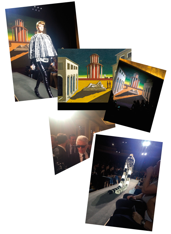 Artist Giorgio de Chirico was the inspiration for a stage set from last night's Fendi Haute Couture Show. With the labyrinth of dreams and ideas he found in the Giorgio de Chirico it was the perfect match for Fendi's 'fantasy fur'.