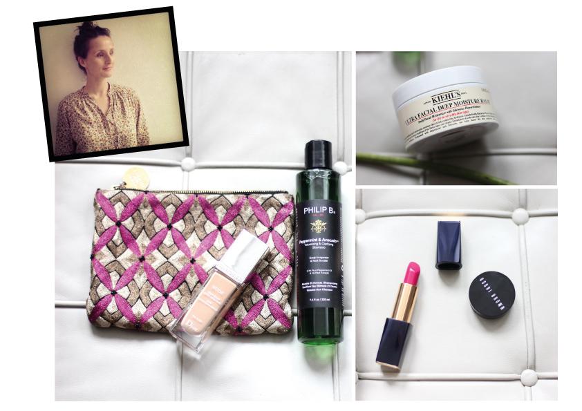 Franziska's beauty pouch (clockwise from left): Diorskin Nude Fluid Foundation, Philip B's Avocado Peppermint Shampoo, Kiehl's Ultra Facial Moisturizer, Corrector by Bobbi Brown, Estée Lauder's Pure Color Envy Lipstick
