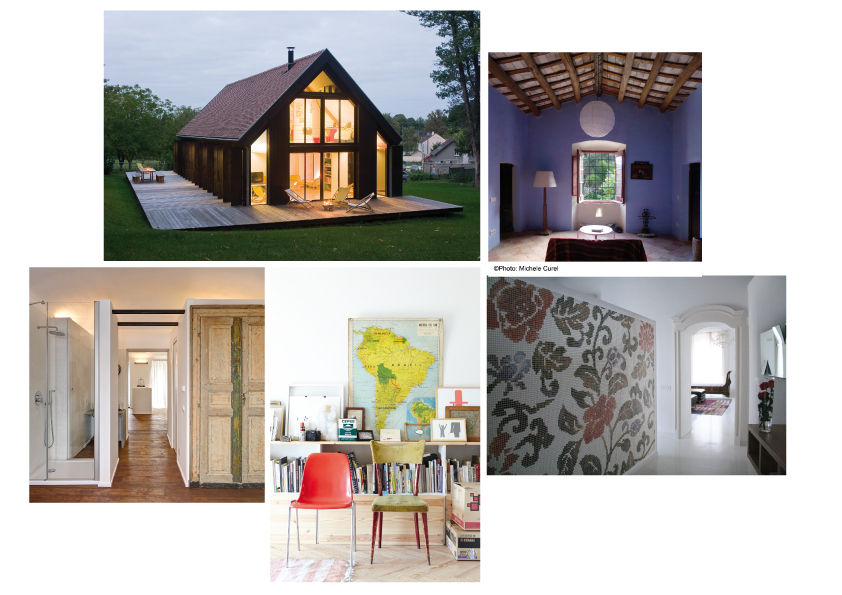 CREATIVE CROWDS: A house from an interior designer in Mere, France; a photographer's house in Vall-Llobrega, Catalonia, Spain; the house of an architect in Turino, Italy; a home of a video artist in Madrid, an architect and urban planner's house in Sardinia, Italy. On the slider: left: An apartment in Paris by a product and fashion designer: right: an interior designer's home in Essaouira, Morocco