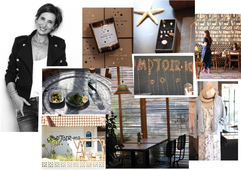 The founder and owner Emmanuelle Sawko who lives now between Paris and Dubai, the first product of their new brand COLLECTION 102, a scented candle with a smell of black pepper, an art installation by French artist Zoe Rumeau