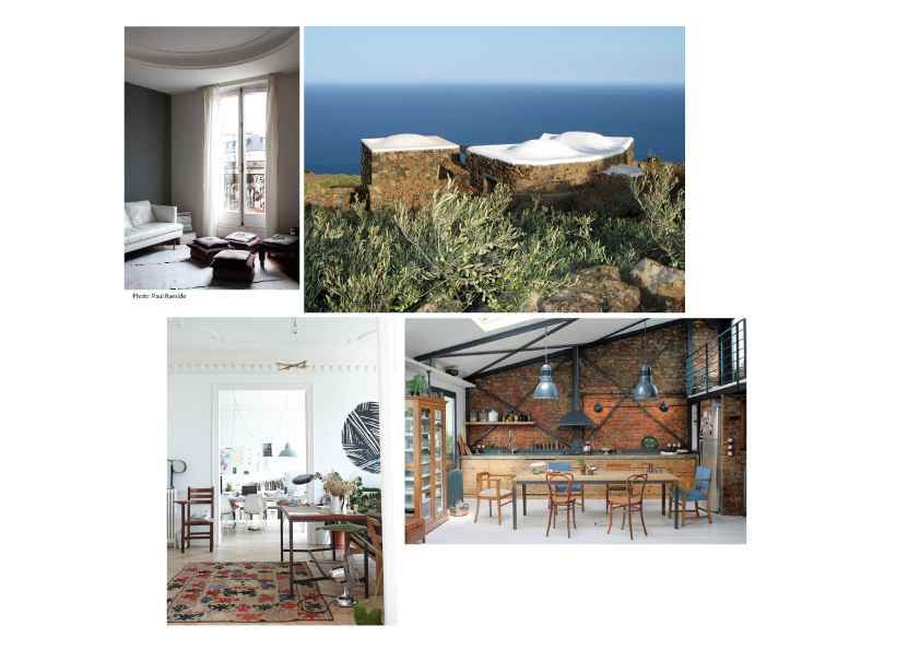 From top left to bottom right: A product and fashion designer's apartment in Paris, France; a summer house in Pantelleria owned by a photographer and video artist, a video artist's 250 square meter apartment in Madrid, and a house in Istanbul, Turkey.