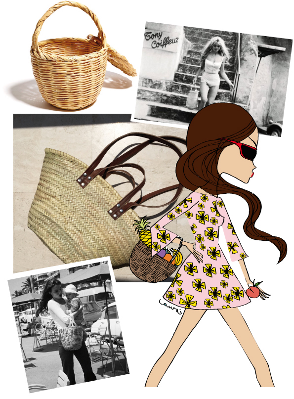 From top left to bottom right: Portuguese fishing basket, Brigitte Bardot found a perfect match: bathing suit and basket, my favorite summer basket has two kind of straps to wear around the arm and the shoulder, Jane Birkin takes it easy with a Portuguese fishing basket and her baby daughter in her arms, IRMA wears a mini basket with her favorite print dress