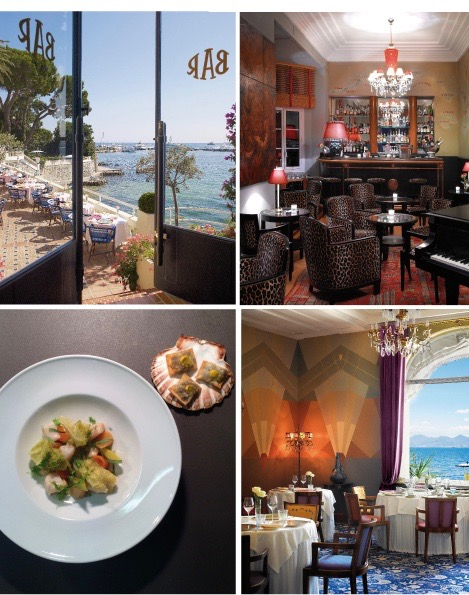 From top left to bottom right: The view onto the terrace of the Bar Fitzgerald at the Hotel Belles Rives in Cap D'Antibes, The Bar Fitzgerald, Noix de Coquilles Saint Jacques, the original 1930s interior of La Passagère
