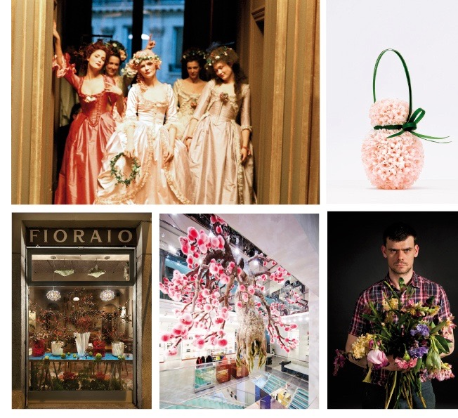 From top left to bottom right: Thierry Boutemy for Sofia Coppola's film Marie Antoinette, a bouquet by Baptiste Fleur, Cafe and florist Fioraio in Milan, an installation by Azuma Makoto for Fendi and Mark Colle in Antwerp