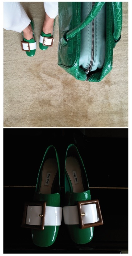 Stay in the colour with green Miu Miu shoes and an alligator Prada bag during the day, at night I wear these green delights with bare, tanned legs.