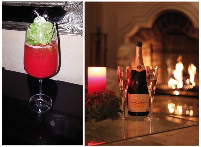 Enjoy Verve Clicquot in a signature cocktail, Cocktail the Grand or classic at home in front of a fireplace. Front Slider: Hermès garden picnic basket, portefeuille envelope trio, fleur en twill de soi