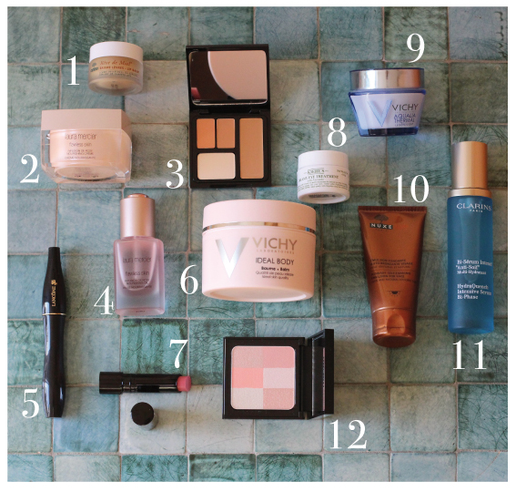 1) Nuxe Reve de Miel, 2) Laura Mercier Flawless Nourishing Cream, 3) Boby Brown Face Touch-up Palette, 4) Laura Mercier Flawless Nourishing Oil, 5) Lancôme Hypnose, 6) Vichy Ideal Body, 7) Bobby Brown lipstick, 8) Kiehl's Creamy Eye Treatment, 9) Vichy Aqualia Thermal, 10) Nuxe Sun, 11) Clarins Hydraquench, 12) Bobby Brown Brightening Brick