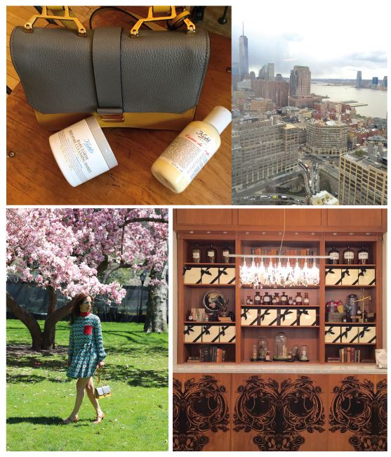 SLIDER: On our slider on the homepage you see the magnificent view of our suite at the top floor of the Trump Soho Hotel in NYC. IRMA's Miu Miu bag is filled with all the skincare products she needs to treat her jetlag for face and body, Creme de Corps body lotion and Rare Earth Deep Pore Cleansing Masque INSIDE: Take you skin for a walk as often as you can, the best beauty regimen for your skin remains fresh air and a good night sleep, the first counter of Kiehl's original Pharmacy located at 3rd Avenue and 13th Street in the East Village of New York City