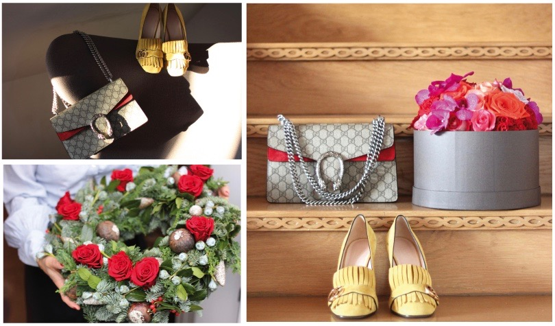 Wreath & flowers by Blumen Company, bag & shoes by Gucci; Front Slider: Advent wreath with freshly prepared roses by florist Julius Linke, Blumen Company, Munich, Bag by Gucci Winter 2015 Collection, Vintage Gucci scarf turned into a pillowcase