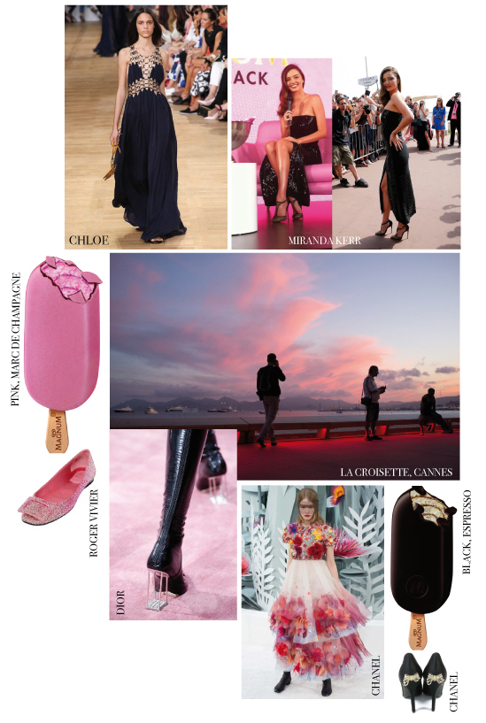 Get in the mood for pink & black with Miranda Kerr at the Magnum launch party during the Cannes Film Festival