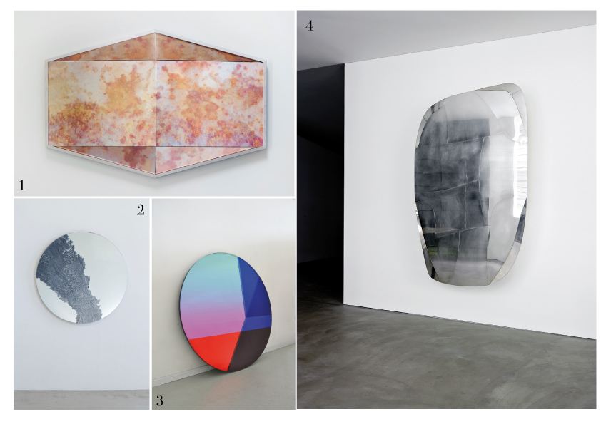 From top left to bottom right: Robert Sukachrand's various facets mirror in pink antique, Fernando Mastrangelo CUT OUT mirrors, Seeing Glass 'Big Round'by Brit van Nerven and Sabine Marcelis, Vincenzo de Cotis, silver-plated brass, polished brass glass