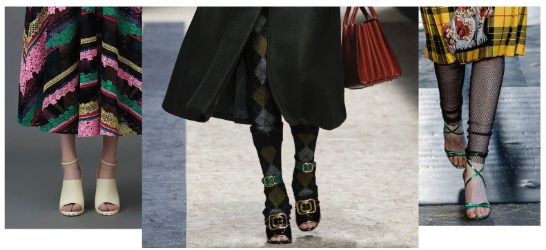 Open shoes from left to right: Valentino Resort 2017, Prada Autumn/Winter 2016, Gucci Resort 2017
