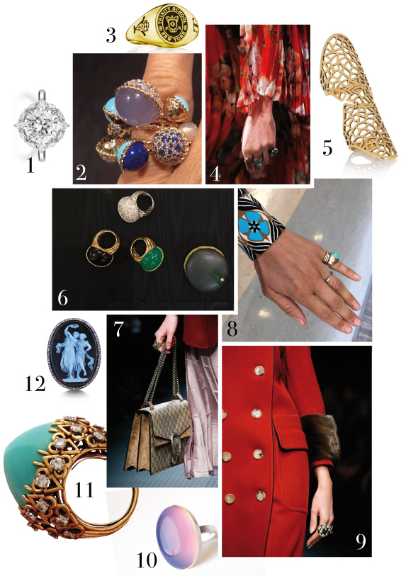 CLOCKWISE: 1. a diamond solitaire engagement ring from the bridal collection service at Harry Winston, 2. a Cartier cocktail ring from the Paris Nouvelle Vague Collection, 3. a College ring of the Trinity School New York, 4. Gucci rings from the A/W 2015 Collection, 5. an 18-karat gold-plated finger Armor Ring by Gaia Repossi, 6. Cocktail rings by the Cartier Paris Nouvelle Vague Collection, 7. Gucci rings, 8. a composition of an Eternity Ring by Tiffany's and a Cartier triology gold ring together with an antique turquoise ring from Persia, 1960, 9. Gucci Cocktail rings,10. a mood ring found at a vintage store in L.A., 11. a 1950 turquoise, diamond Cocktail ring by Cartier, 12. an antique Cameo Ring by Cartier