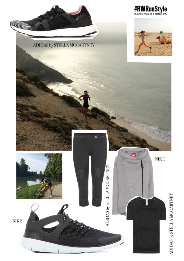 See and buy directly all must-have running items that make Polly go really fast. Top right running in the desert of Dubai and below in Sagres, Portugal. Stretching is a must, like at the Englischer Garten in Munich.