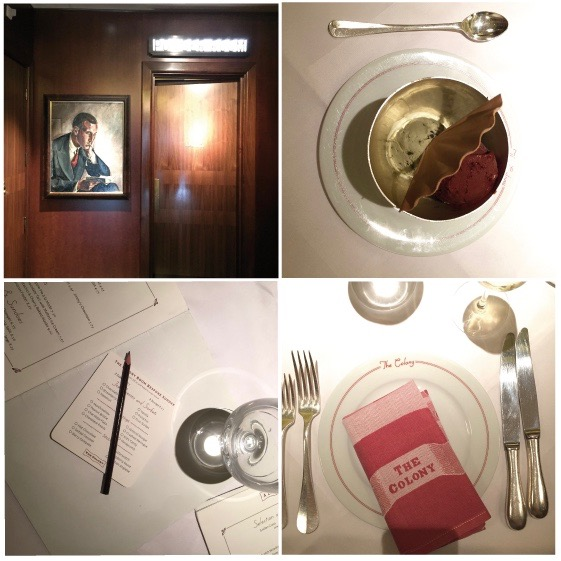 The powder room with mahogany walls and mid-century paintings, homemade ice-cream at the Colony, make your choice of toppings for the Colony Room Bespoke Sundae, we love the table setting and 1930s wall decoration
