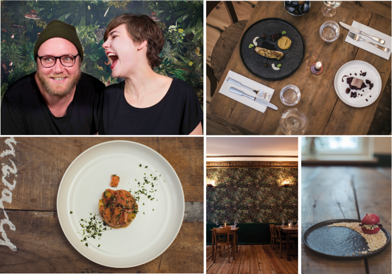 Top left: Max Strohe and Ilona Scholl; top right: Kikok chicken, Paella cream, rehydrated grape, Brin d'amour and a Dornfelderjus with grape seed oil. Pulpo and smoked eel with ox bone marrow, cherry risotto, 25-year-old mature Balsamico and Amarena cherry. Bottom left: Ceviche from Label Rouge salmon, terragon, kumquat & peanut. Bottom right: Beetroot macaron, malted buttercream & goat cheese, beetroot shoots. Bottom center: newly designed and drawn jungle wallpaper in the dining room by www.pattern-studio.com