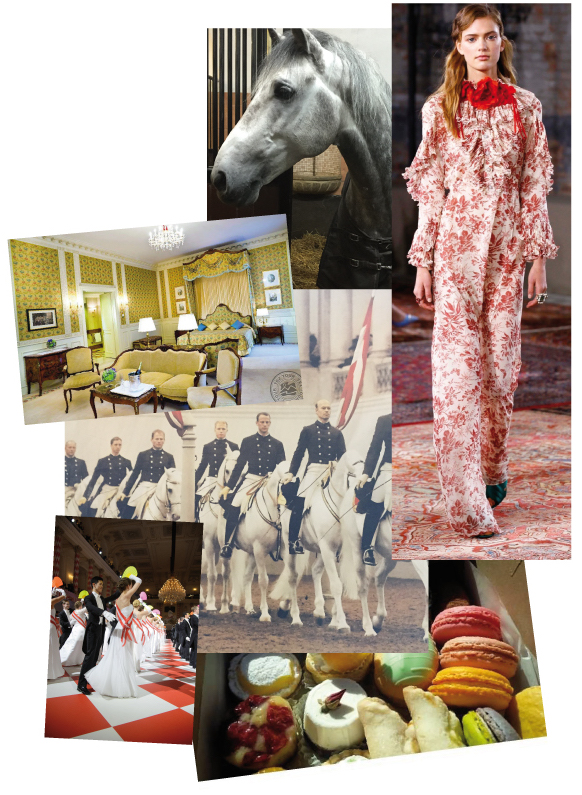 FROM TOP TO BOTTOM: The suite at the Bristol Hotel in Vienna, a stable almost like a suite, horses live a luxurious life at the Spanische Hofreitschule, one of my favorite options for a dress to wear to a ball, the riders doing their morning works (Morgenarbeit), the debutante ball at the Hofreitschule, you will enjoy typical Viennese delicatessen at the ball