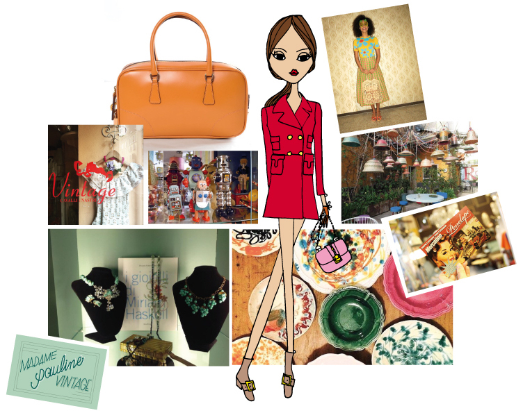 From top left to bottom right: Cavalli e Nastri Vintage store, a Prada bag from Stripwardrobe.com, vintage robots at Mercantino Penelope, a spring outfit from Wait & See, a lamp installation by Rossana Orlandi, matching business card from Mercatino Penelope, a great selection of vintage plates by Funky Table, vintage jewels by Madame Pauline Vintage