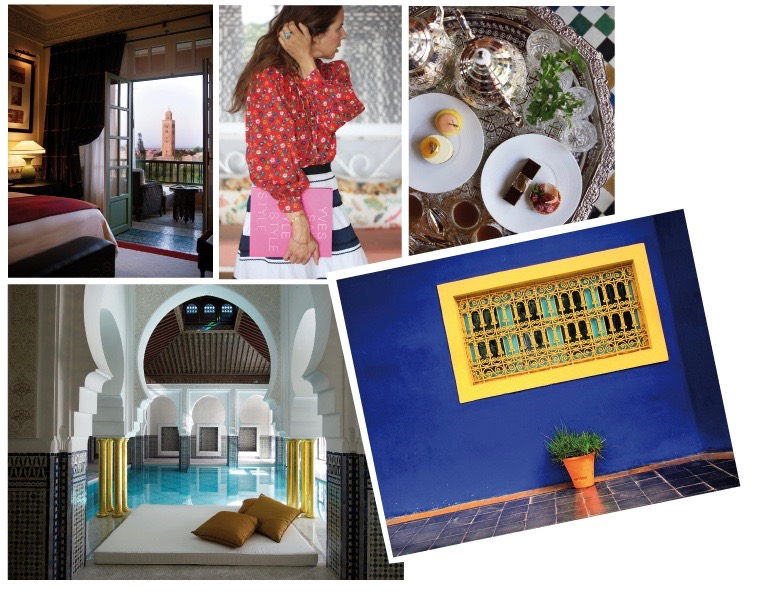 Clockwise: A room with a view at La Mamounia, JK from IRMASWORLD wearing a vintage YSL blouse and a vintage Miu Miu skirt, a Moroccan feast, the beautiful spa pool at La Mamounia, a detail at YSL's Villa Majorelle in Marrakech