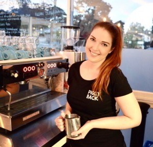 Talented barista Emily Coumbis at the Piggyback Cafe in NYC