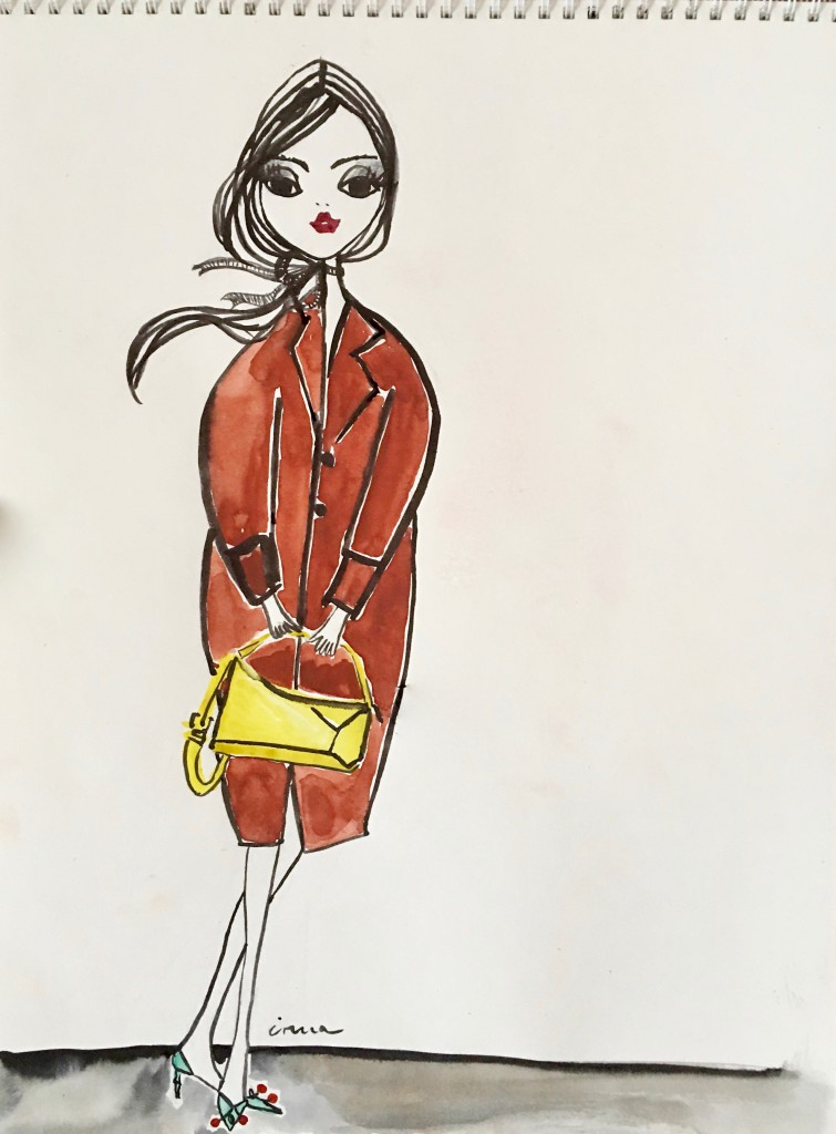 IRMA wears an Isabel Marant wool coat with a LOEWE bright yellow handbag and turquoise Gucci shoes, velvet ribbon around the neck IRMA's own. On the slider: JK from IRMASWORLD wears a COS winter coat with a MIU MIU bag and Hermès silk scarf.