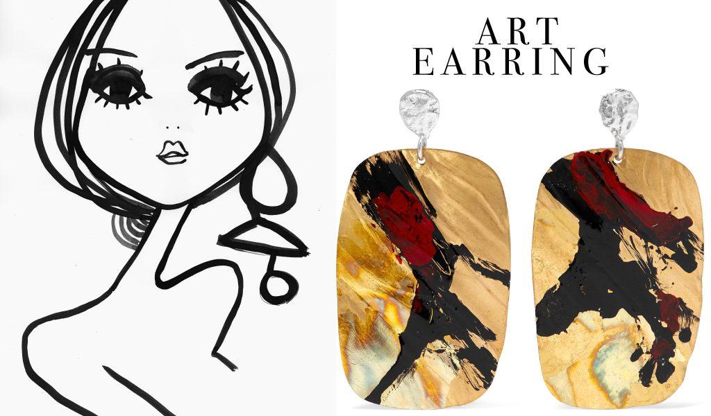 Seven earrings like a piece of Art