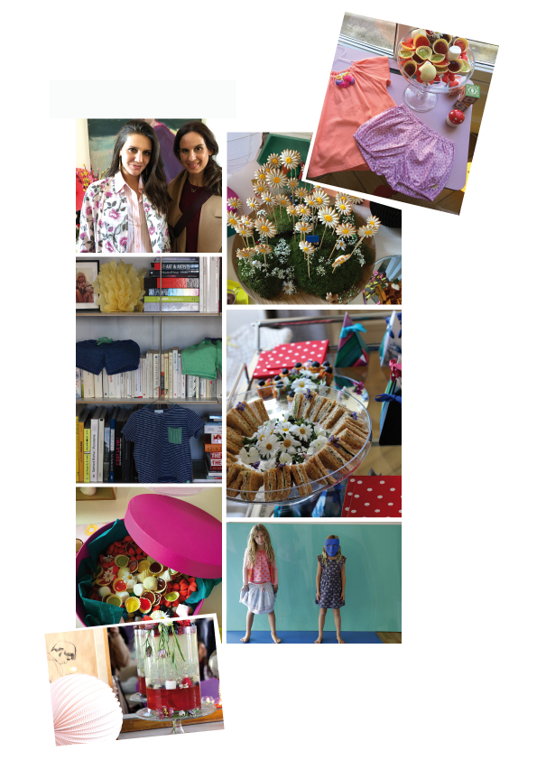 From top to bottom: JK from IRMASWORLD with Margherita Missoni Maccapani Amos at her Parisian appartement, fun lollipops from the buffet, pieces of her new children's collection MARGHERITA, children's wear between books, cucumber sandwiches with edible flowers, a dream of candies, little models enjoying the new collection, homemade lemonade and lots of paper lanterns & balloons