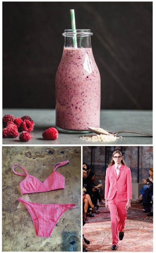 A homemade raspberry smoothie by Madeline Lu, use fresh raspberries in summer and frozen ones all year round, the bikini I want to wear by Lisa Marie Fernandez, seen at Alexis Eagle, Soho House Berlin, the perfect colour for a suit in autumn by Gucci Resort 2016