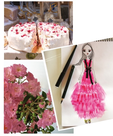 Homemade nougat tarte with raspberry flavour, seen on the market in St. Remy, Provence, any kind of pink, rosé and dark red hues will make my flower decoration for now, a sketch inspired by the Resort Gucci 2016 Collection by IRMA